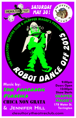 Join the fun at The Desultory Theatre Club's Robot Dance Off 2015 at Snapper Magee's, Torrington