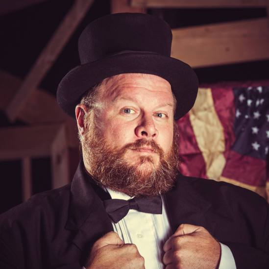 Keith Paul as President Garfield in The Warner Theatre's production of Assassins