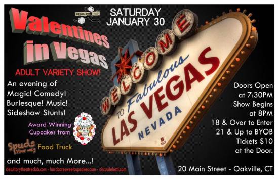 Join The Desultory Theatre Club on January 30th at Hardcore Sweet Cupcakes for the Valentines in Vegas Adult Variety Show!