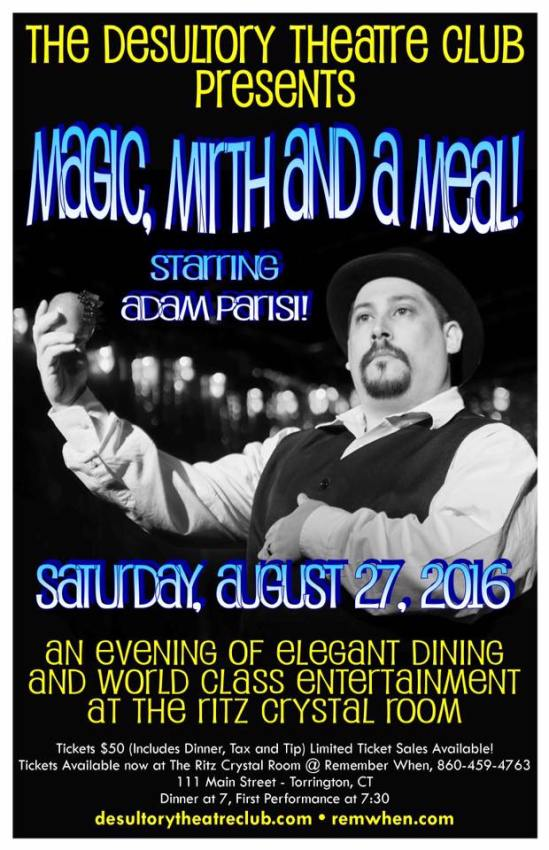Join us for Magic, Mirth and a Meal at The Ritz Crystal Room in Torrington, Connecticut--featuring Adam Parisi!