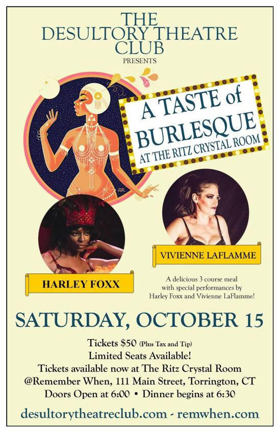 The Desultory Theatre Club presents A Taste of Burlesque 2 at The Ritz Crystal Room, Torrington